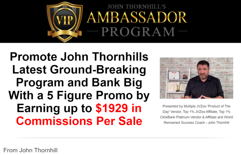 Ambassador Program by John Thornhill – DFY Automated Online Business