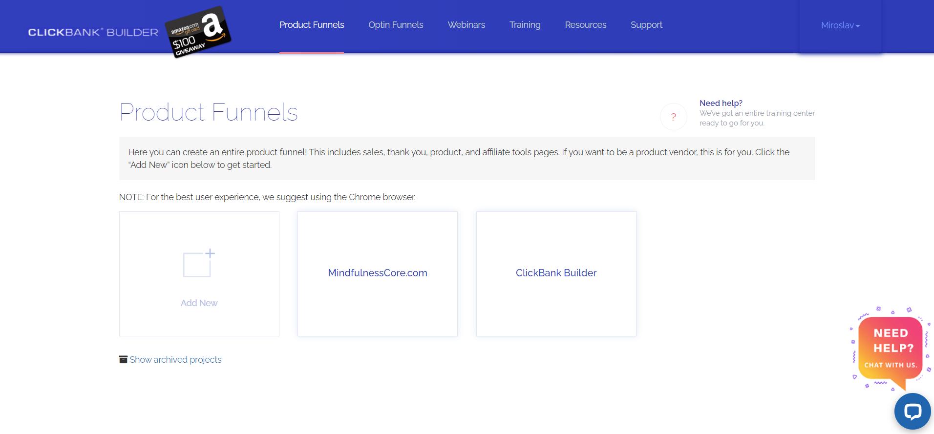 ClickBank Builder Product Funnels software