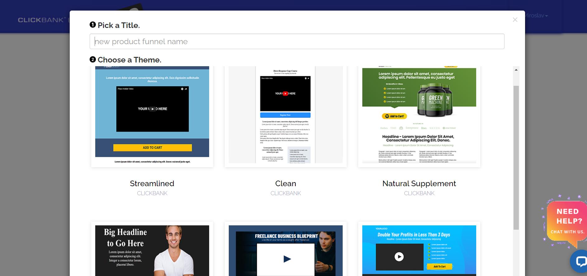 ClickBank Builder new product funnel setup
