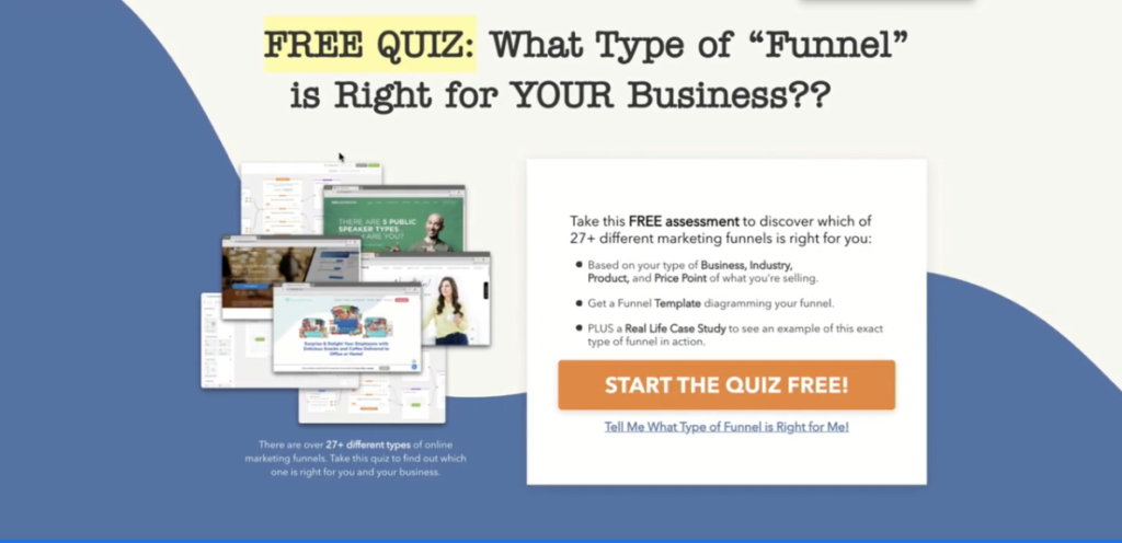 High Converting QuizFunnel landing optin page example