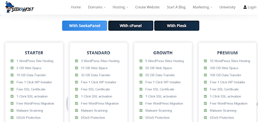 seeahost plans and pricing